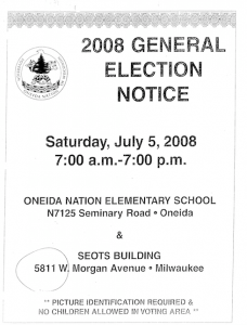 2008 General Election Notice with wrong SEOTS Polling Stie address