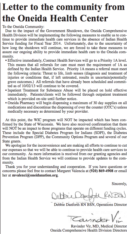 Letter to the community from Oneida Health Center