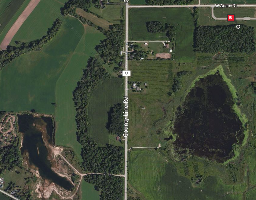 Aerial view of Oneida Tribal Cemetery area