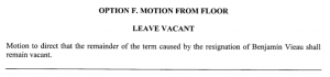 Option F to Leave Vacant BC Position