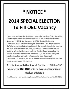 November 22, 2014 OBC Special Election Cancellation Notice