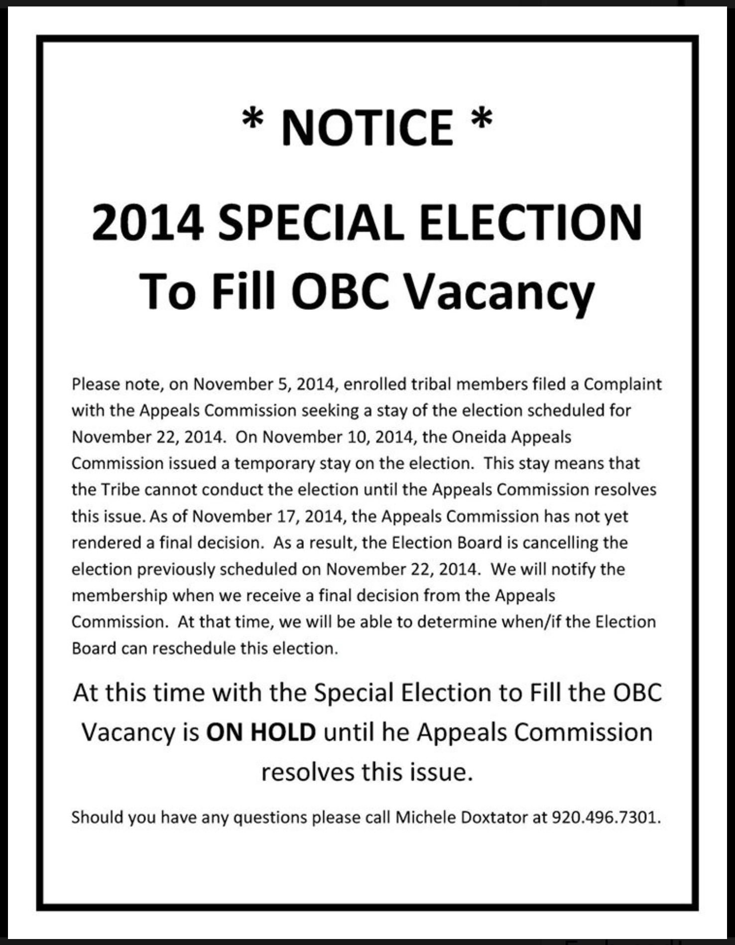 2014 oneida county tax rolls - November 22 2014 Obc Special Election Cancellation Notice