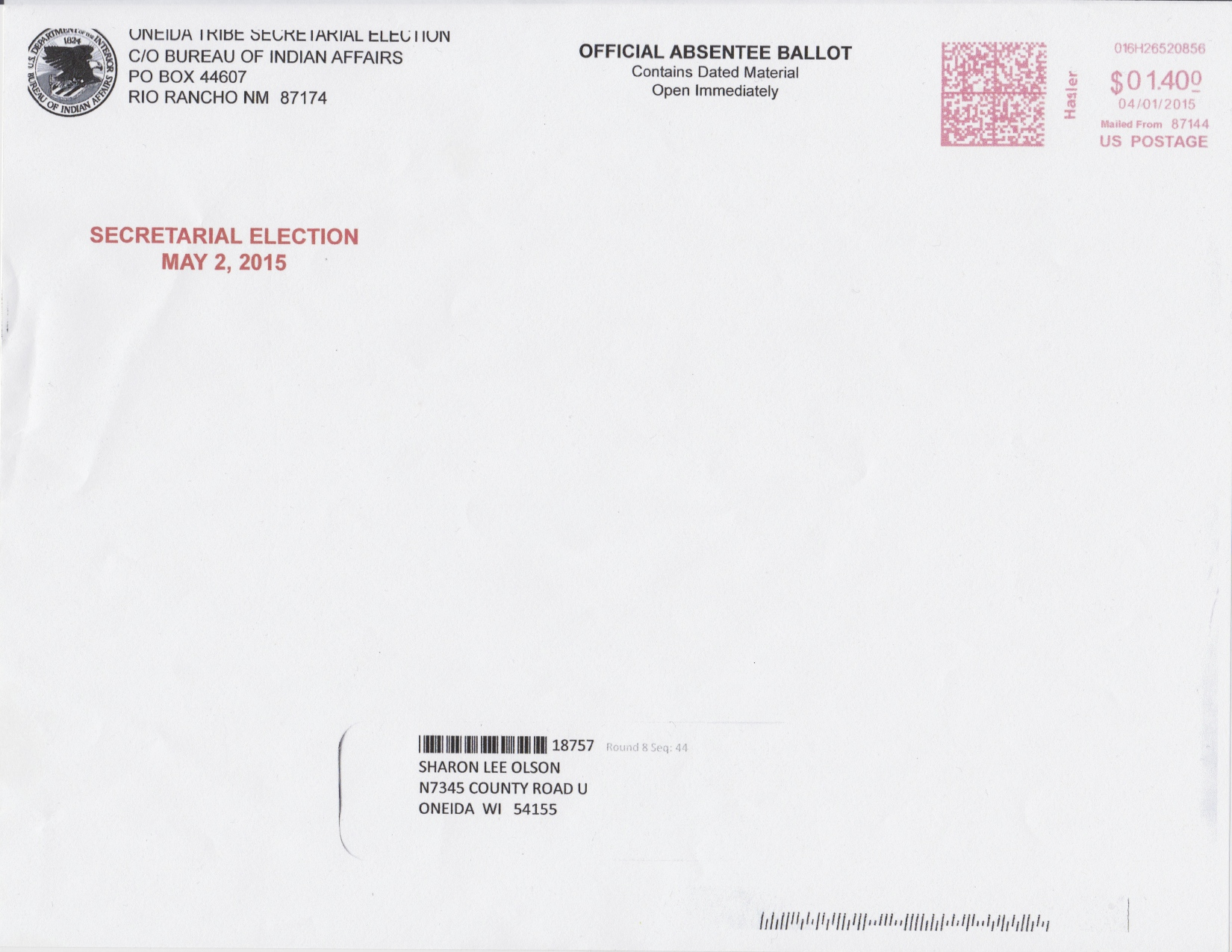 Absentee Ballot Illegally Sent to Oneida Eye