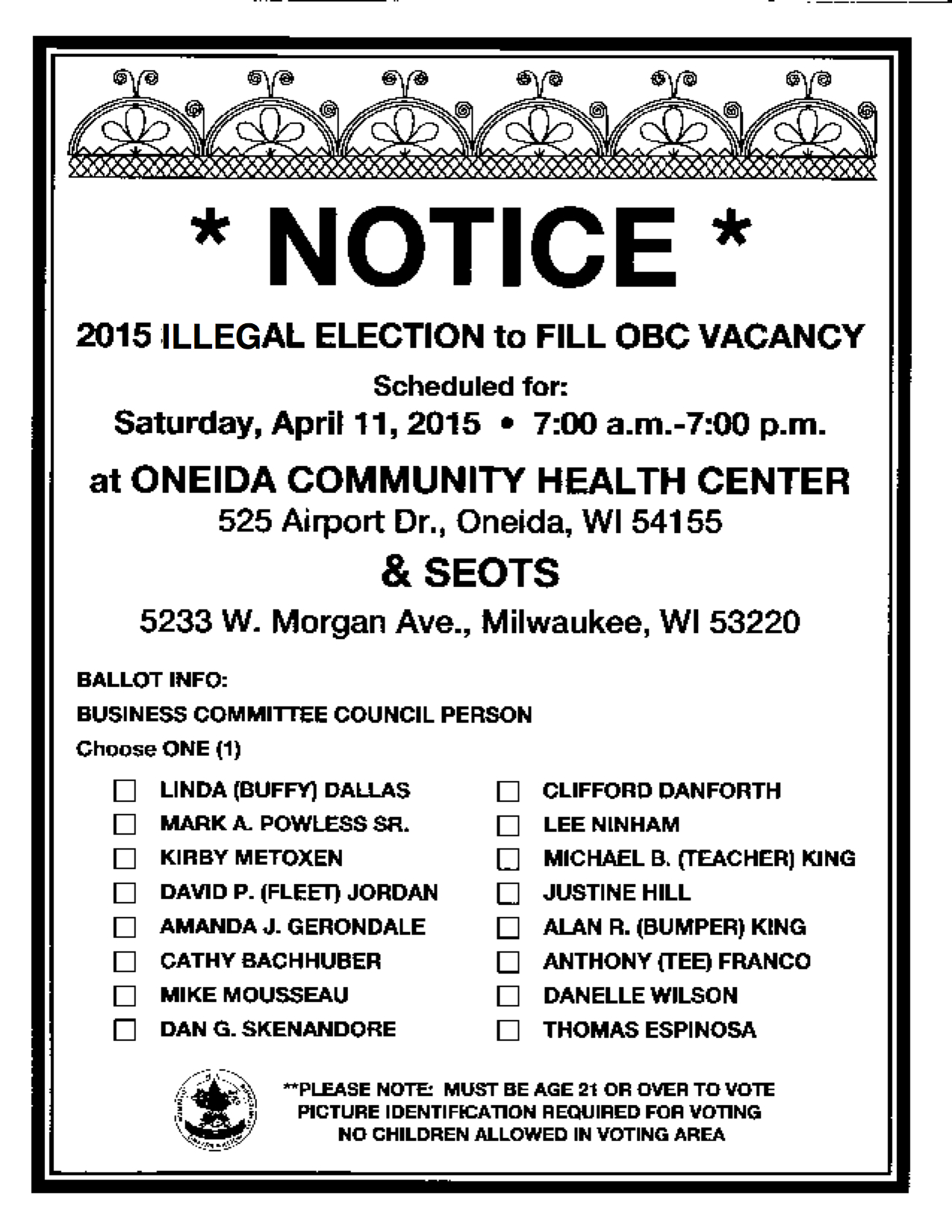 Illegal Election Notice