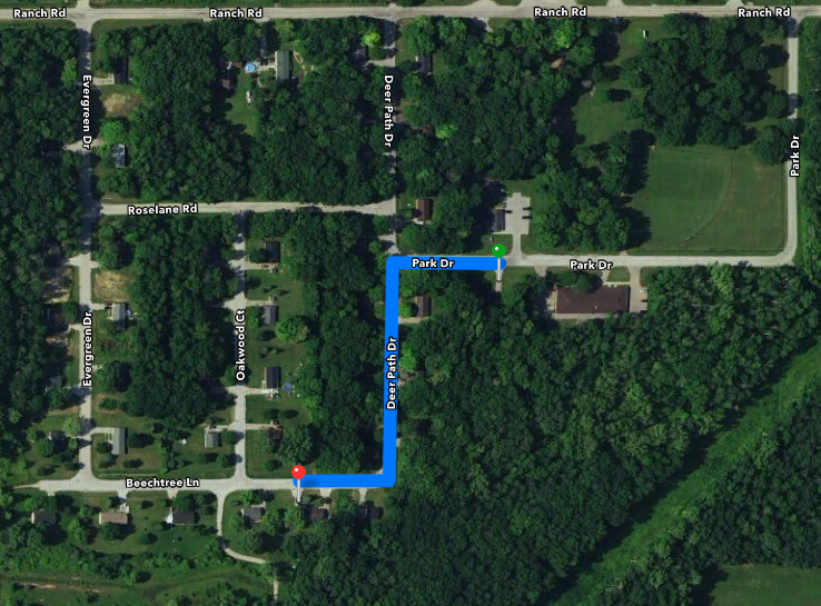 Path from Vance Reed's hom e to Harry & Lorraine Brown Bears' home in ONW Site 2 near Flying Leaf Park/Oneida lacrosse field
