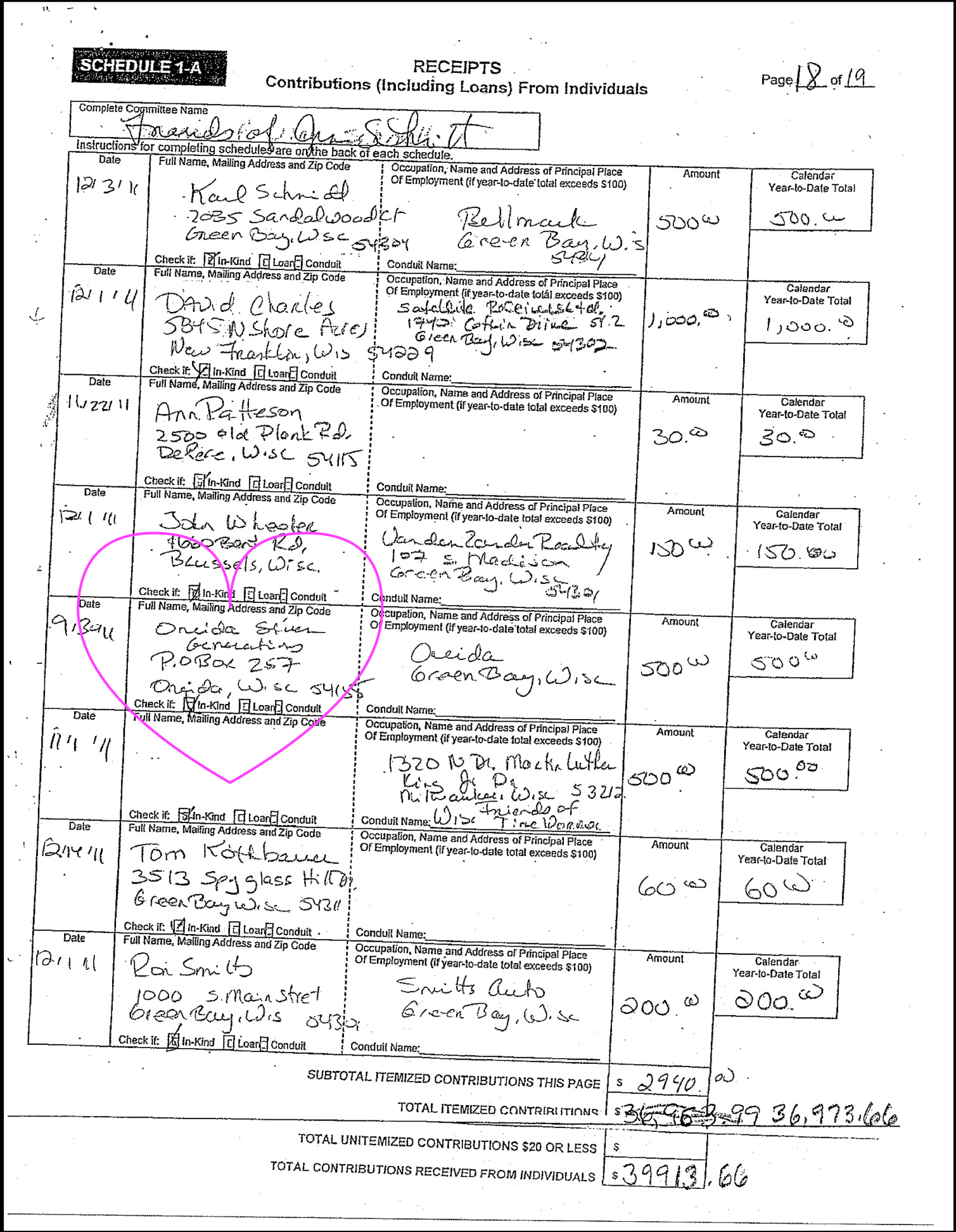 2014 oneida county tax rolls - Ledger Of Illegal Campaign Donation From Oneida Seven Genergations Corporation To Green Bay Mayor Jim Schmitt
